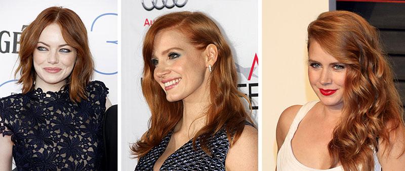 Emma Stone Jessica Chastain Amy Adams cabelos ruivos